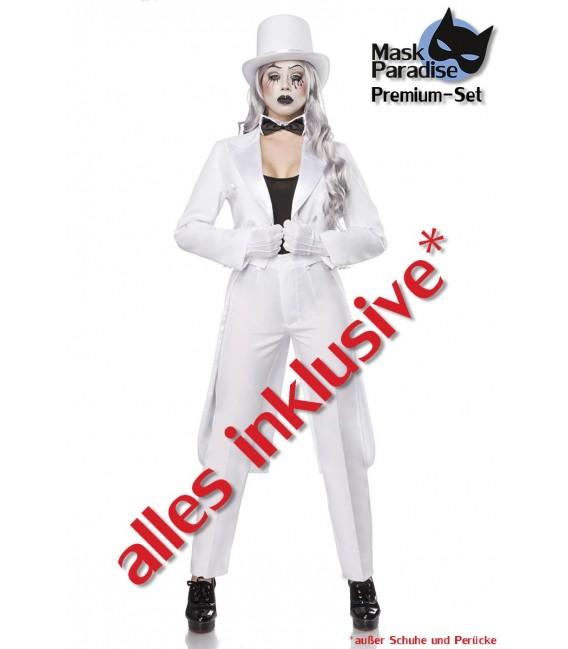 Pantomime Kostüm von Mask Paradise. Kostüm-Set Frack, Zylinder, Top, Hose, Handschuhe, Fliege