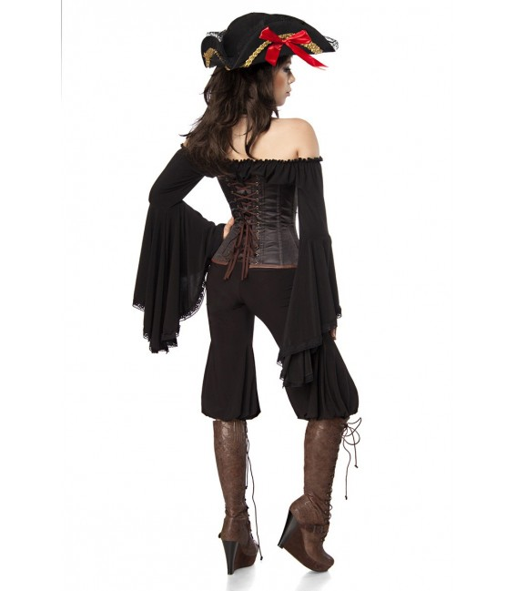 Piratenkostüm: Female Pirate von Mask Paradise. Kostümset Bluse, Hose, Corsage und Hut