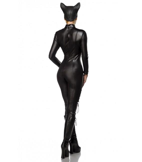 Catwoman Kostüm von Mask Paradise. Kostümset besteht aus Wetlook-Overall mit langen Armen, Katzenmaske und Krallen-Handschuhe