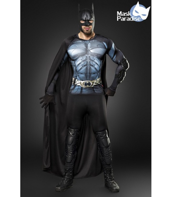 Batman-Kostüm von Mask Paradise - Maske, Handschuhe, Longsleeve, Cape, Leggings, Beinprotektoren, Armprotektoren