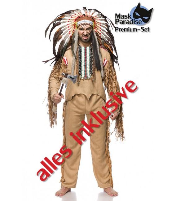 ndianerkostüm: Native American Herren von Mask Paradise - Oberteil, Hose, Tomahawk, Kopfschmuck und Indianerschmuck