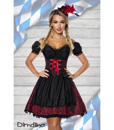Premium Dirndl mit Bluse rot/schwarz - AT70000