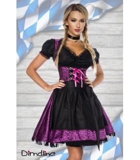 Premium Dirndl mit Bluse lila/schwarz - AT70000