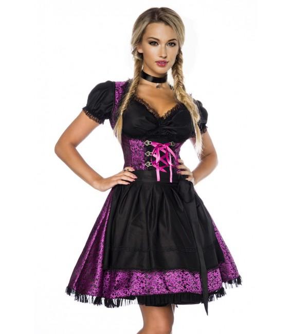 Premium Dirndl mit Bluse und Schürze lila/schwarz - AT70000