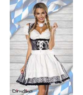 Premium Dirndl mit Bluse silber/weiß/schwarz - AT70000