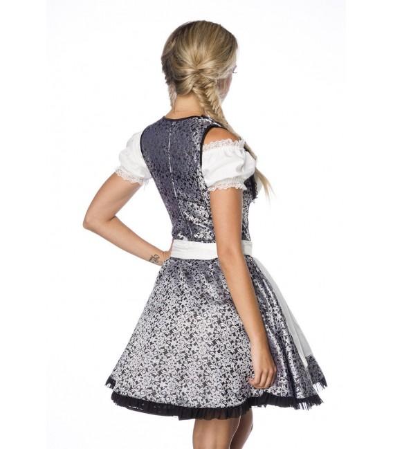 Premium Dirndl mit Bluse und Schürze silber/weiß/schwarz - AT70000