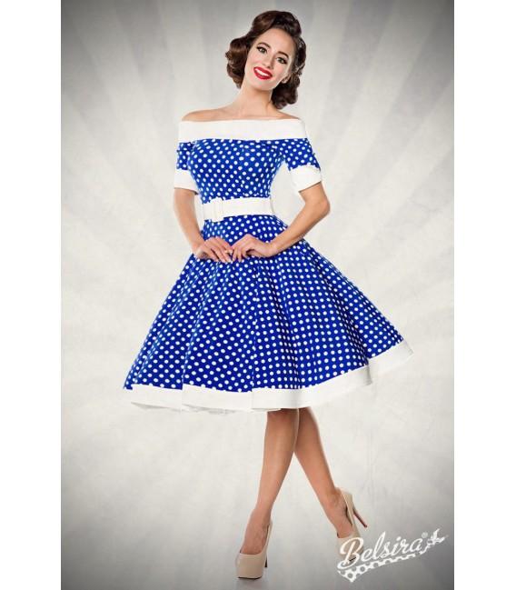 Schulterfreies Swing-Kleid mit Tellerrock von Belsira blau/weiß