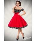 schulterfreies Swing-Kleid rot/schwarz/weiß - AT50058