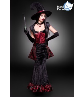 Dark Witch - Hexenkostüm von Mask Paradise - Top, Rock, Hut, Handschuhe, Zauberstab, Collier