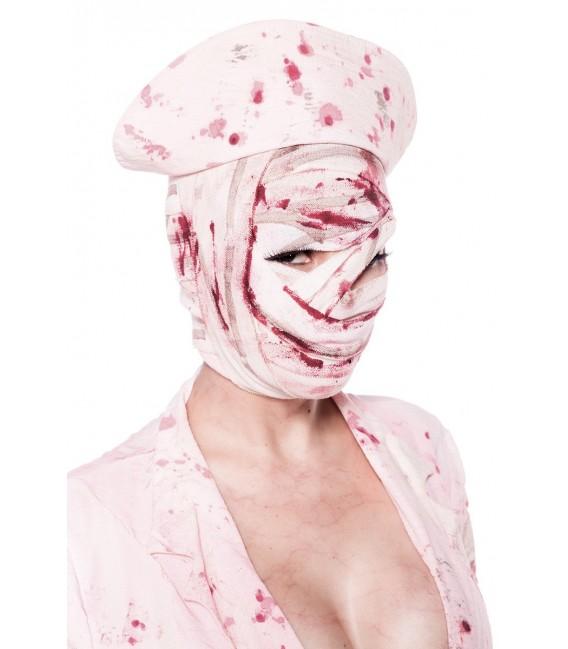 Zombiekostüm - Silent Nurse Kostüm von Mask Paradise - Minikleid mit Knopfleiste, Bandage und Hut