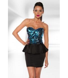 Vintage-Kleid mit Pailletten schwarz/türkis