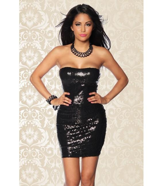 schulterfreies Pailletten-Kleid in schwarz