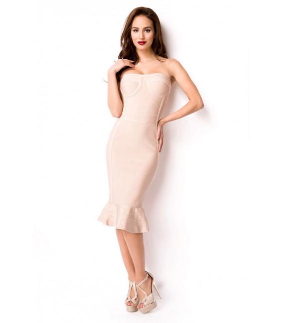 Bandage-Shape-Kleid altrosa mit dekorativ, aufgesetzten Streifen
