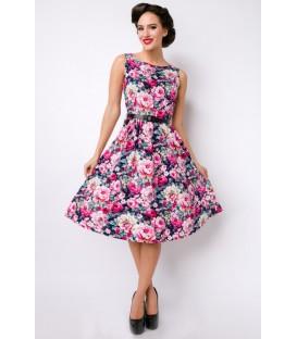 Vintage-Kleid mit Gürtel, Rundhalsausschnitt und breiten Trägern blau/gemustert