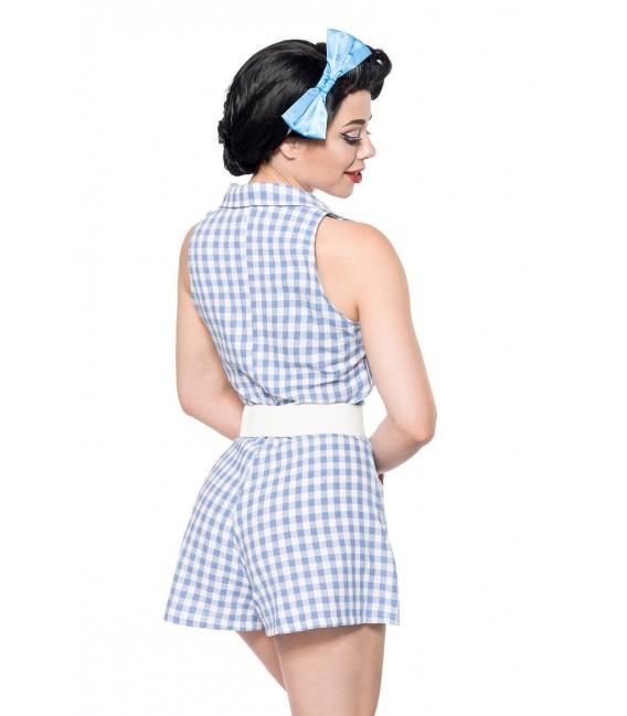 Ärmelloser Retro-Jumpsuit mit Reverskragen von Belsira blau/weiß