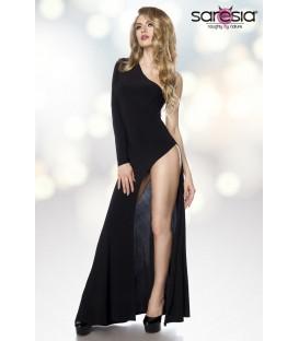 Gogo-Kleid bodenlang mit asymmetrischer Schulter