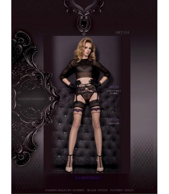 Stockings BA Art. 323 halterlose Strümpfe schwarz-violett 20den