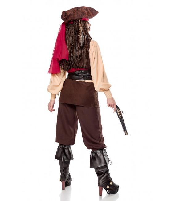 Captain Jacky Kostümset für Damen von Mask Paradise - Hose, Bluse, Weste, 2x Boot Cover, Hut, Pistole, Kopftuch, 2 Tücher und 3