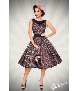 Vintage-Spitzenkleid schwarz/rosa - AT50091