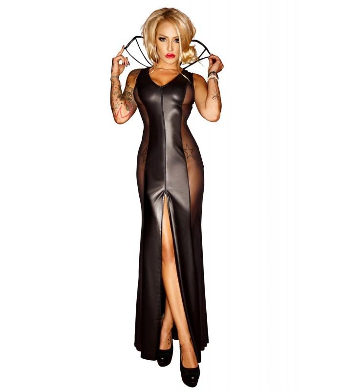 schwarzes langes Kleid F103 von Noir Handmade - FashionMoon