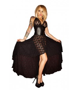 schwarzes langes Neckholder-Kleid F021 von Noir Handmade