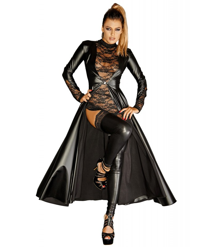 best service 7e36e 64cb3 schwarzer langer Mantel F128C von Noir Handmade Diva Collection