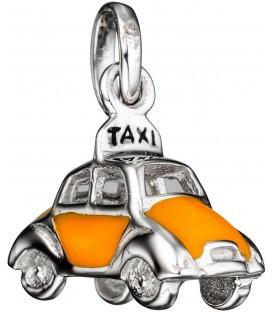 Kinder Anhänger Auto / Taxi 925 Silber mit gelber Lackeinlage Kinderanhänger Bild1
