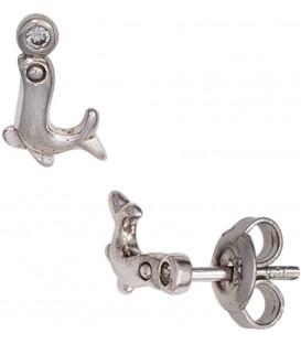 Kinder Ohrstecker Seehund 925 Sterling Silber 2 Zirkonia Ohrringe Kinderohrringe Bild1