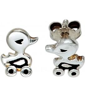 Kinder Ohrstecker Ente 925 Sterling Silber rhodiniert Ohrringe Kinderohrringe Bild1