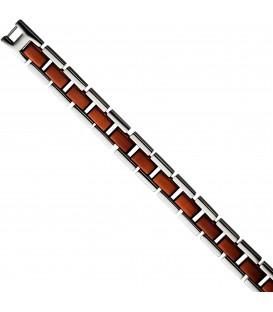Armband Edelstahl braun plattiert bicolor 21 cm Klappverschluss Bild1