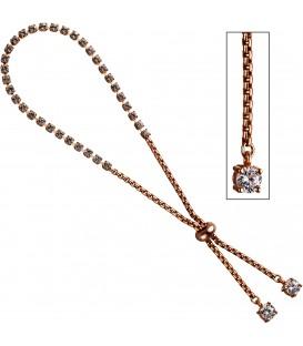 Venezianerarmband 925 Silber rotgold vergoldet Glassteine und 2 Zirkonia Armband Bild1