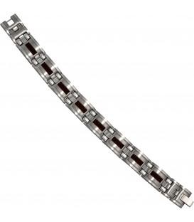 Armband Edelstahl mit braunen Carbon Einlagen 21 cm Klappverschluss Bild1