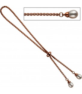 Venezianerarmband 925 Silber rotgold vergoldet 2 Süßwasser Perlen Armband Bild1