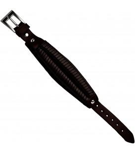 Armband Leder braun dunkelbraun 215 cm mit Dornschließe aus Edelstahl Bild1