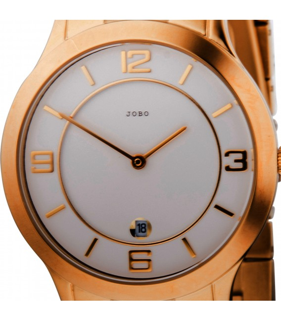JOBO Herren Armbanduhr Quarz Analog Edelstahl vergoldet Datum Herrenuhr Bild2 Großbild
