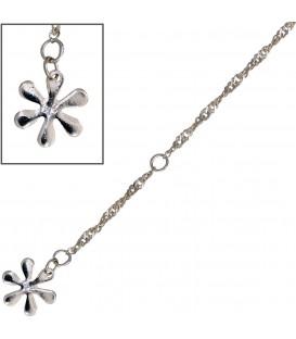 Fußkettchen Fußkette Blume 925 Sterling Silber rhodiniert 25 cm Federring Bild1