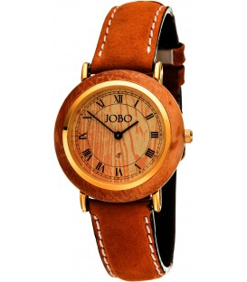 JOBO Damen Armbanduhr mit Holz Quarz Analog vergoldet Lederband braun Damenuhr Bild1
