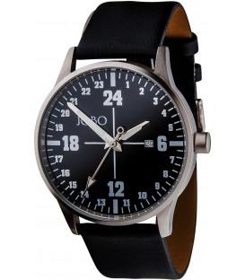 JOBO Unisex Armbanduhr 24-Stunden-Uhr Quarz Analog Edelstahl Leder Bild1