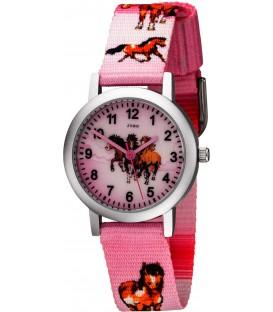 JOBO Kinder Armbanduhr Pferde rosa pink Aluminium Kinderuhr Pferdeuhr Mädchenuhr Bild1