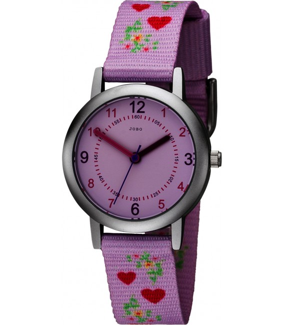 JOBO Kinder Armbanduhr Herzen rosa pink Quarz Kinderuhr Mädchenuhr Bild1