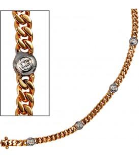 Armband 585 Gold Gelbgold Weißgold bicolor 6 Diamanten Brillanten 19 cm Bild1