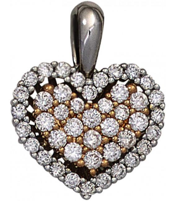 Großbild Anhänger Herz 585 Gold Weißgold Rotgold bicolor 43 Diamanten Brillanten Bild1