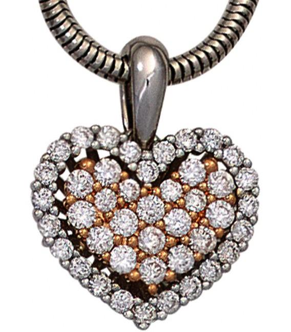 Großbild Anhänger Herz 585 Gold Weißgold Rotgold bicolor 43 Diamanten Brillanten Bild2