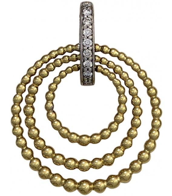 Anhänger 585 Gold Gelbgold Weißgold bicolor 9 Diamanten Brillanten Goldanhänger Bild1