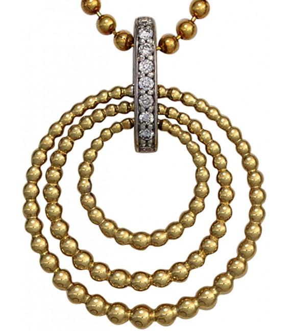 Anhänger 585 Gold Gelbgold Weißgold bicolor 9 Diamanten Brillanten Goldanhänger Bild2