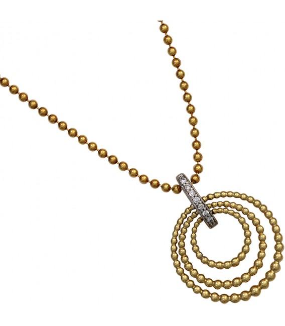 Anhänger 585 Gold Gelbgold Weißgold bicolor 9 Diamanten Brillanten Goldanhänger Bild3