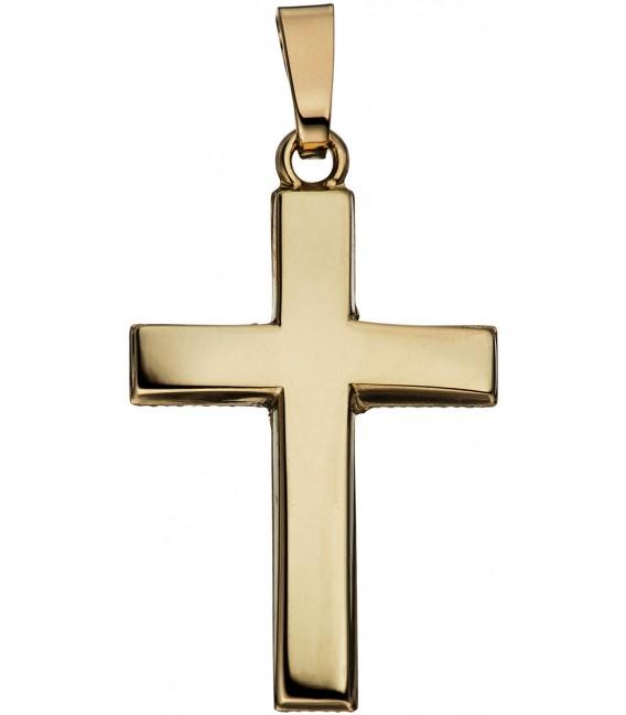 Anhänger Kreuz schlicht 585 Gold Gelbgold Kreuzanhänger Goldkreuz Bild1 Großbild