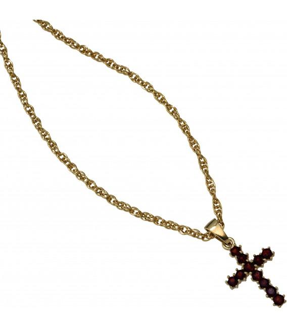 Anhänger Kreuz 333 Gold Gelbgold 11 Granate rot Kreuzanhänger Granatkreuz Bild3 Großbild
