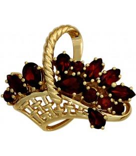 Brosche Korb 333 Gold Gelbgold 13 Granate rot Granatbrosche Goldbrosche Bild1