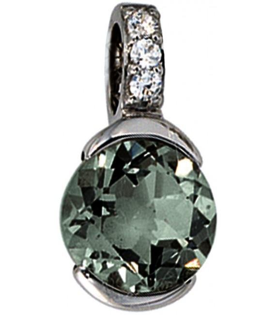 Anhänger 585 Gold Weißgold 3 Diamanten Brillanten 1 grüner Amethyst Goldanhänger Bild1 Großbild